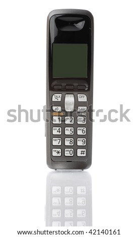 Cordless phone on white, with reflection. - stock photo