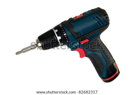 Cordless power tools, isolated on a white background - stock photo