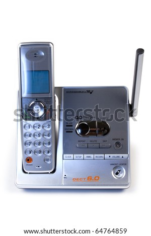 cordless telephone and answering machine unit - stock photo