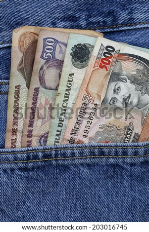 cordoba, nicaragua money, in the pocket of jeans - stock photo