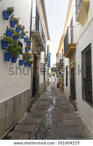 CORDOBA, SPAIN - JULY 19, 2016: Cordoba (Andalucia, Spain): old typical street in the Juderia