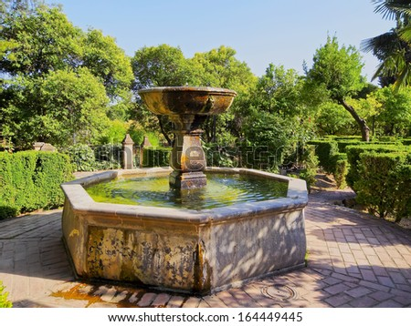 CORDOBA, SPAIN - JUNE 5: Gardens of Alcazar de los Reyes Cristianos on June 5, 2013 in Cordoba, Spain. The place is declared UNESCO World Heritage Site.