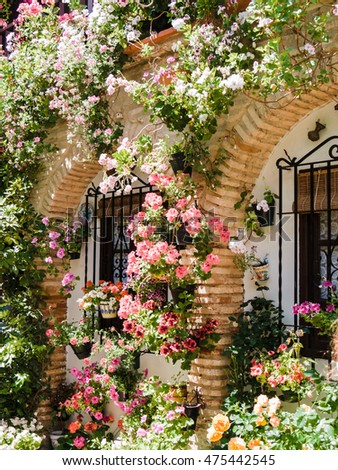CORDOBA, SPAIN - MAY 08: Flowers Decoration during the Festival of the Patios on May 08, 2015 in Cordoba, Spain. The historic centre was named a UNESCO World Heritage Site.