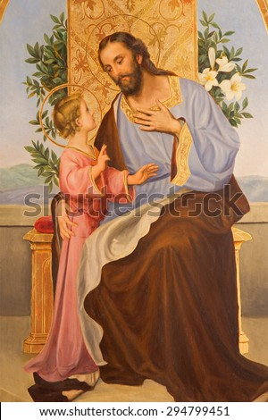 CORDOBA, SPAIN - MAY 27, 2015: Paint of St. Joseph from year 1909 by R. Perea in church  Convento de Capuchinos (Iglesia Santo Anchel). - stock photo