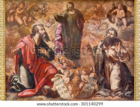 CORDOBA, SPAIN - MAY 26, 2015: The fresco of Ascension of the Lord from 17. cent. by Cristobal Vela and Juan Luis Zambrano in church Iglesia de San Augustin..