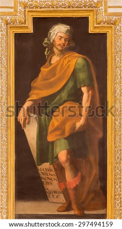 CORDOBA, SPAIN - MAY 27, 2015: The fresco of prophet Zechariah in church  Iglesia de San Augustin  from 17. cent. by Cristobal Vela and Juan Luis Zambrano. - stock photo