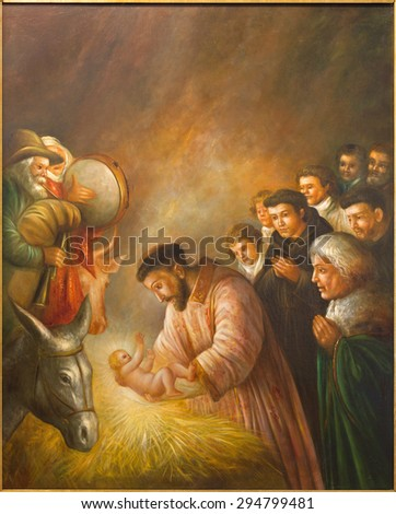 CORDOBA, SPAIN - MAY 27, 2015: The modern paint of st. Francis of Assisi in the scene of Nativity by unknown artist of 20. cent. in church Convento de Capuchinos (Iglesia Santo Anchel) - stock photo