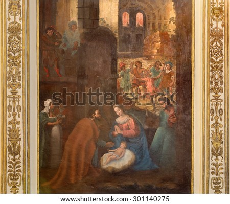CORDOBA, SPAIN - MAY 26, 2015:  The Nativity fresco from 17. cent. by Cristobal Vela and Juan Luis Zambrano in church Iglesia de San Augustin. - stock photo