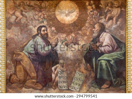 CORDOBA, SPAIN - MAY 27, 2015: The renaissance fresco of Holy Trinity in church  Iglesia de San Augustin  from 17. cent. by Cristobal Vela and Juan Luis Zambrano.