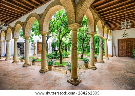 CORDOBA, SPAIN - NOVEMBER 11, 2014: Viana Palace at the courtyard gardens. The Palace grounds are a tourist attraction known for several distinct but connected gardens.