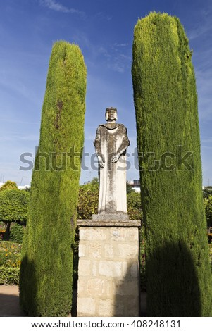 CORDOBA, SPAIN - September 10, 2015: Statue of a Spanish king in the Promenade of the Kings at the Alcazar on September 10, 2015 in Cordoba, Spain - stock photo