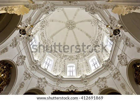 CORDOBA, SPAIN - September 10, 2015: View of the splendid baroque decoration on the vault of the Chapel of Saint Teresa at the Cathedral of Cordoba, on September 10, 2015 in Cordoba, Spain - stock photo