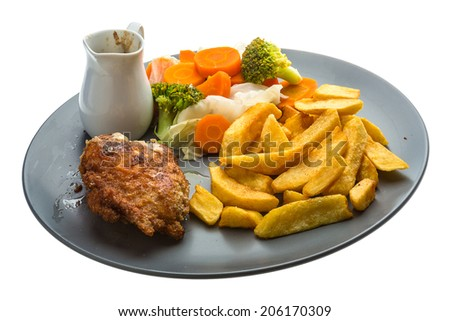 Cordon bleu with cabbage and potato - stock photo