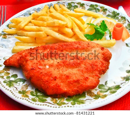 Cordon bleu, with cheese and ham filling, Switzerland - stock photo
