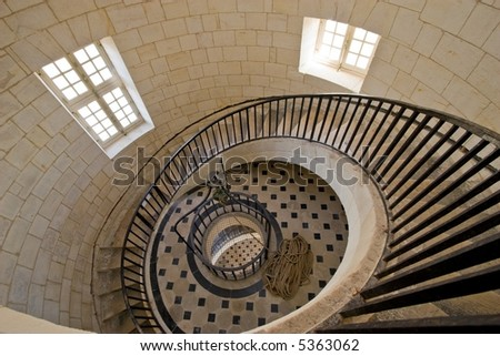 Cordouan king's lighthouse luxurious stairway, Gironde, France