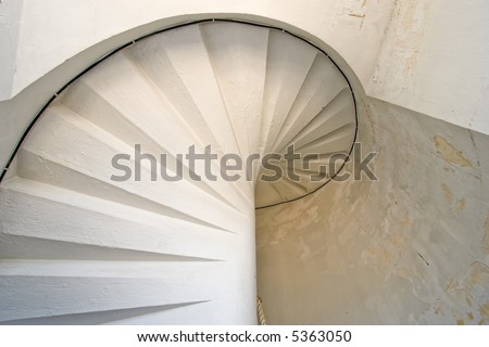 Cordouan king's lighthouse white spiral stairs, Gironde, France - stock photo