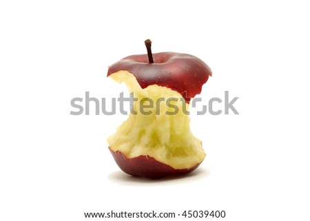 Core of red apple isolated on white background - stock photo