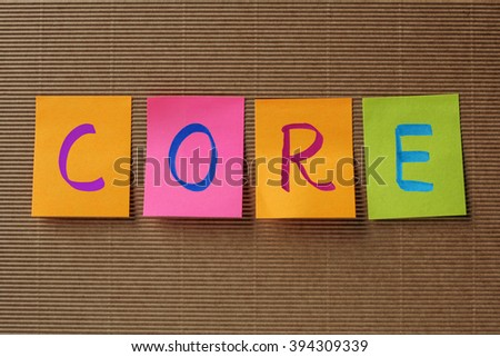 core text on colorful sticky notes