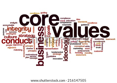 Core values concept word cloud background - stock photo