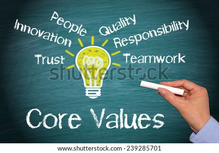 Core Values - green chalkboard with light bulb and female hand - stock photo