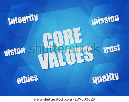core values - quality, mission, ethics, integrity, vision, trust - business concept words in hexagons over blue background, flat design