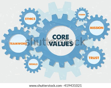 core values, teamwork, ethics, goals, vision, mission, trust,  - words in grunge flat design gear wheels infographic, business cultural riches concept - stock photo