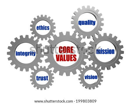 core values - words in 3d silver grey metal gear wheels, business cultural riches concept - stock photo
