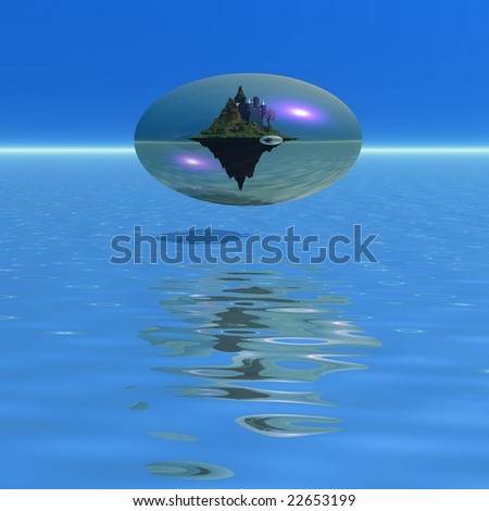 COREOPOLIS 1 - Fantasy castle within a bubble world. - stock photo