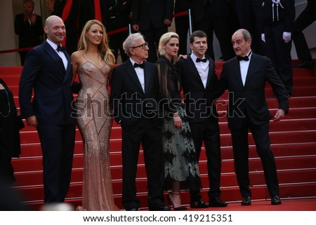 Corey Stoll,  Blake Lively, Woody Allen, Kristen Stewart attend the 'Cafe Society' premiere and the Opening Night Gala during the 69th Cannes Festival at the Palais on May 11, 2016 in Cannes, France. - stock photo