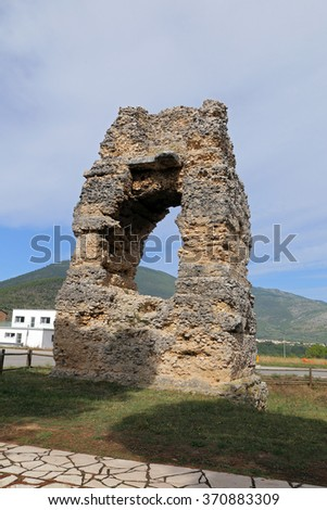 CORFINIO, ITALY - SEPTEMBER 06,2015: Roman graves near the Basilica of S.Pelino. The ancient Corfinium conserves large tracts of the ancient city: the theater, the amphitheater and the baths.  Italy