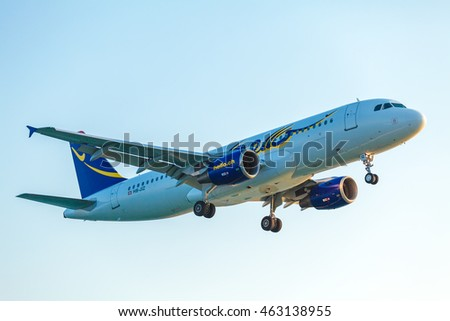 CORFU AIRPORT, GREECE - JULY 9, 2011: Airbus A320 of Hello AG company at the airport Corfu