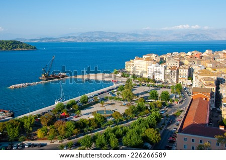 CORFU-AUGUST 22: Panoramic view of Corfu city with the Venetian quarter from the New Fortress on August 22, 2014 on Corfu island, Greece. - stock photo
