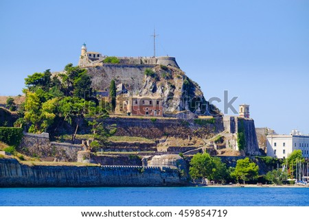 Corfu  fortress walls as seen from the sea panoramic shot. Old Venetian historical fortress of Kerkyra - stock photo