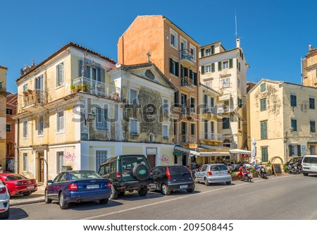 CORFU, GREECE - AUGUST 2,2014 - In the street of old city Corfu - Greece.The city also serves as a capital for the region of the Ionian Islands.