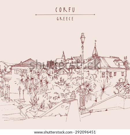 Corfu, Greece, Europe. Artistic illustration postcard with a touristic city view. Marsala color ink pen line. Greeting card graphic design template. Retro style sketch. Buildings, palm trees, lamp