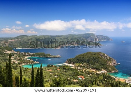 Corfu island landscape - Paleokastritsa coast in Greece. Ionian Sea summer view.