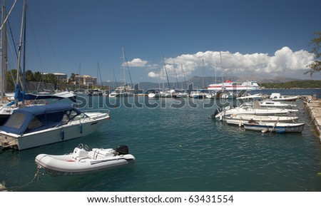 Corfu old port for small boats - stock photo