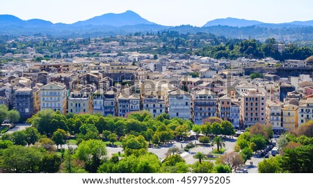 Corfu town aerial view, Corfu Island, Greece - stock photo