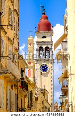 Corfu Town symbol and landmark. The old clock tower in the old city. - stock photo