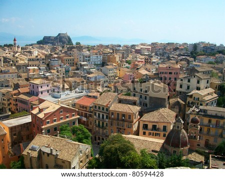 Corfu Town view from the New Fortress - stock photo