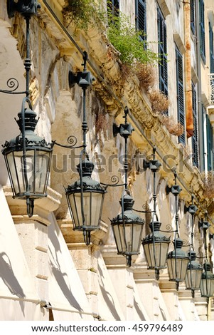 Corfu traditional architecture and details. Kerkyra island, Greece. - stock photo