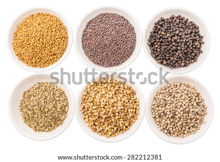 Coriander seed, fenugreek seed, black pepper, white pepper, black mustard seed and cumin seed in white bowl on white background - stock photo