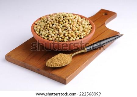 Coriander seeds,  coriander and powdered coriander - stock photo