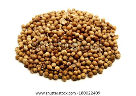 Coriander seeds on a white background - stock photo