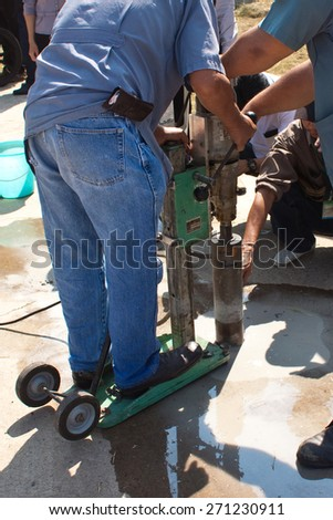 coring sample concrete road to test strength : construction work - stock photo
