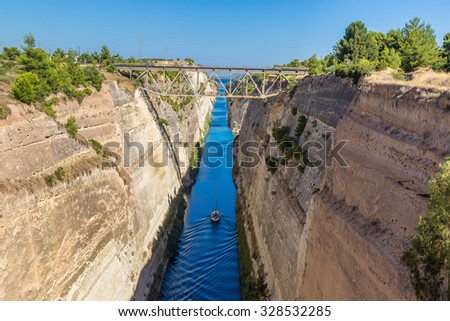 Corinth channel in Greece in a summer day - stock photo