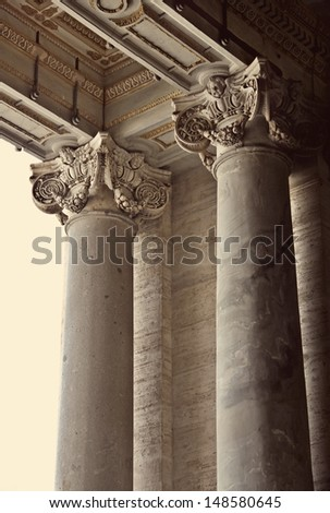 Corinthian columns of St. Peter's Basilica in Vatican, Rome, Italy - stock photo