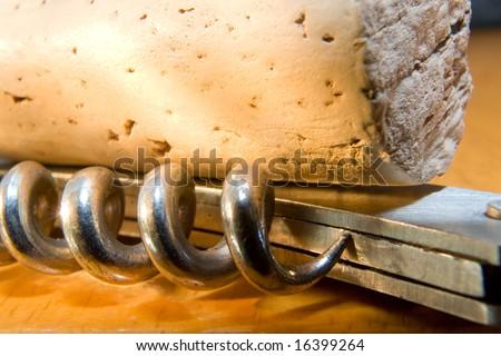 Cork and Corkscrew - stock photo