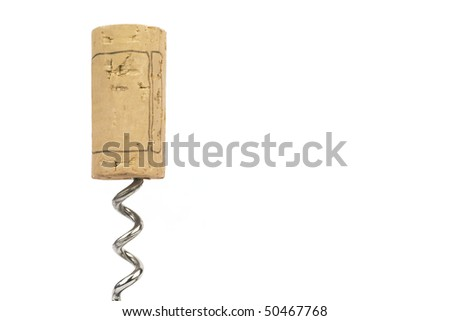 Cork and corkscrew on white background, free copy space - stock photo