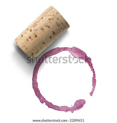 Cork and red wine stain over white background - stock photo